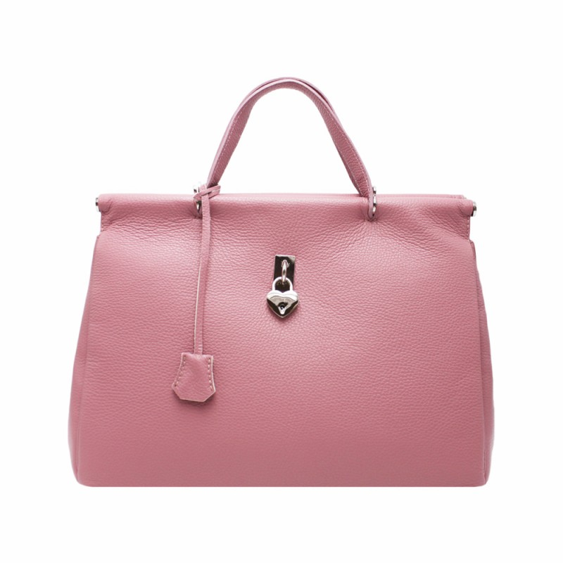 Borsa in Pelle con Lucchetto a Cuore -Made in Italy- -Made in Italy-