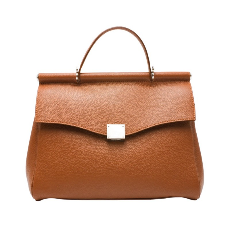 Handbag with Shaped Flap -Made in Italy-