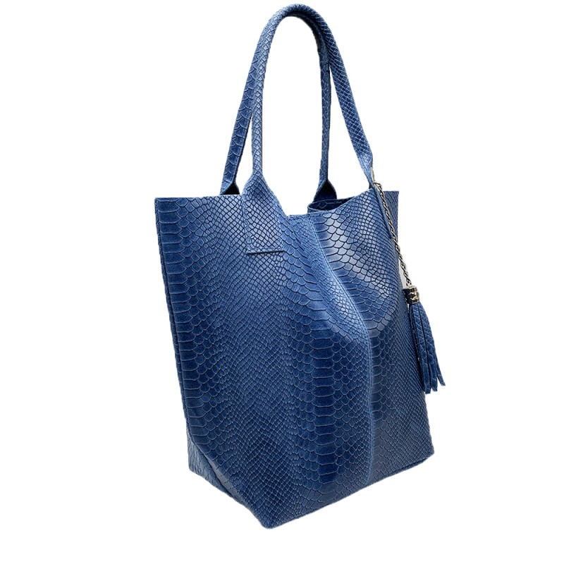Shopper Bag in Python Effect Leather -Made in Italy-