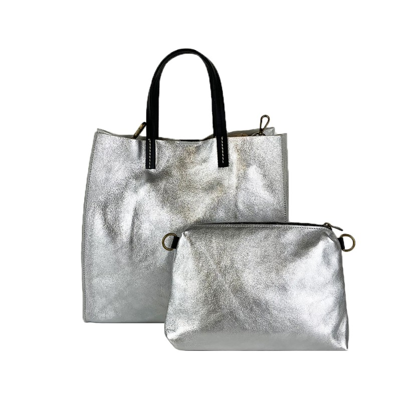 Leather Shopping Bag -Made in Italy-