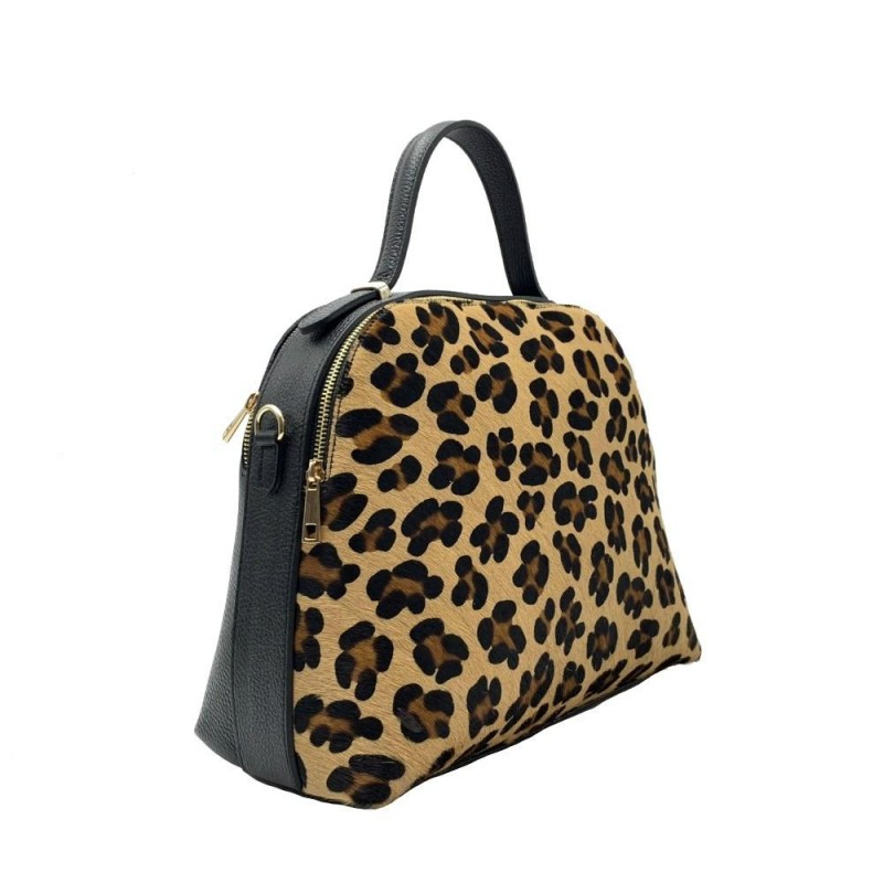 Leather Handbag in Cavallino -Made in Italy-