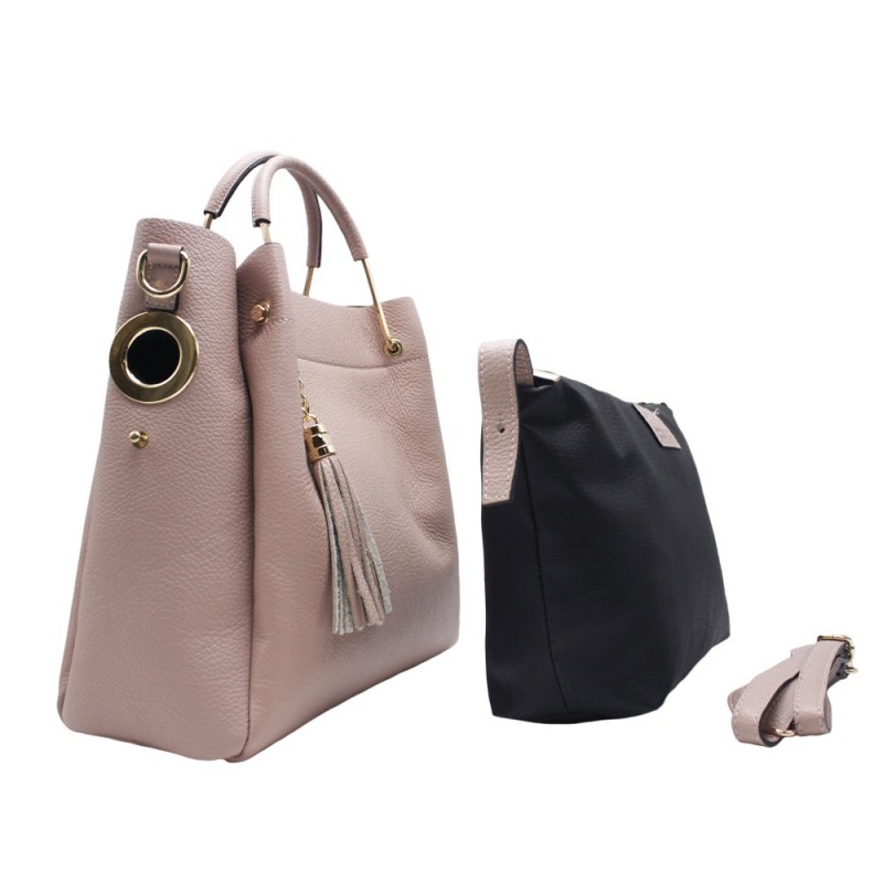 Leather Bag with Rigid Handle -Made in Italy-
