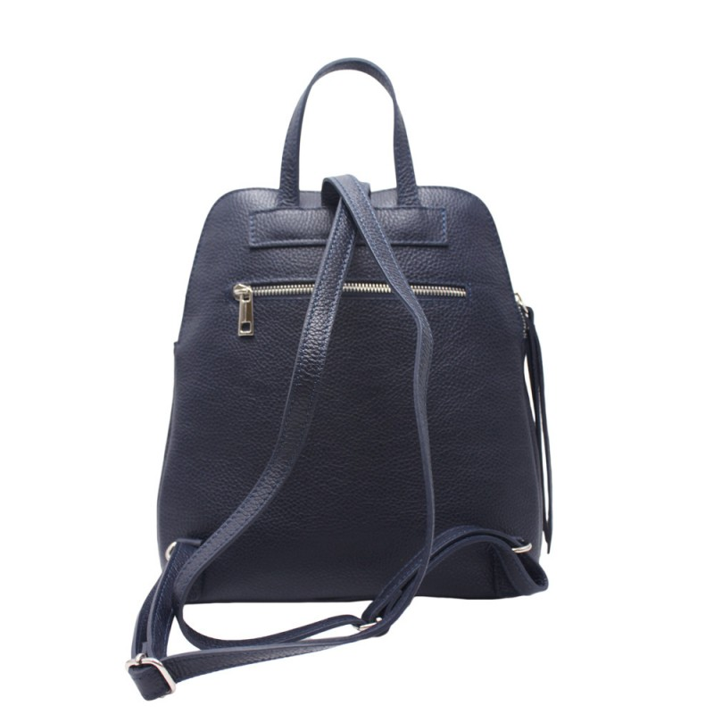 Leather Backpack with Double Compartment -Made in Italy-