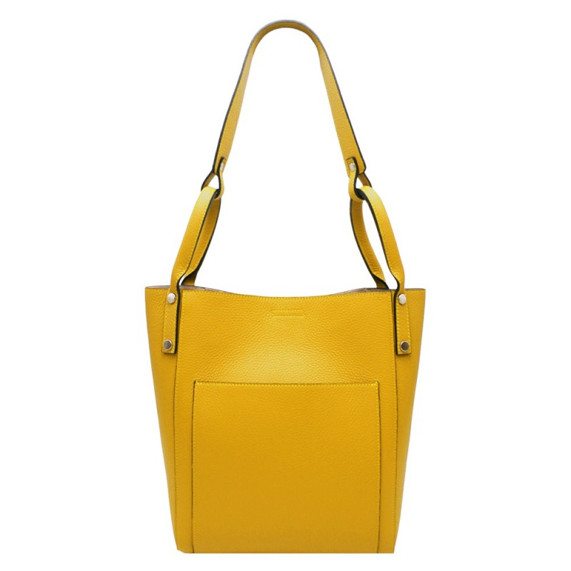 Elegant Shopper Bag in Leather -Made in Italy-