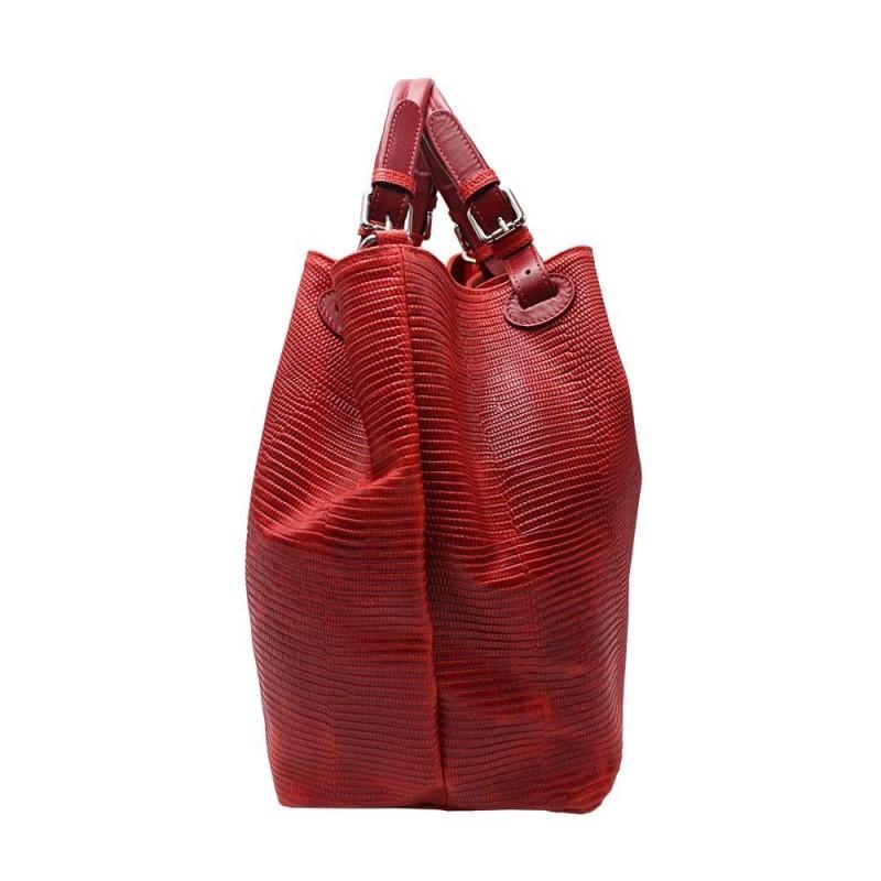 Croco Effect Leather Handbag -Made in Italy-