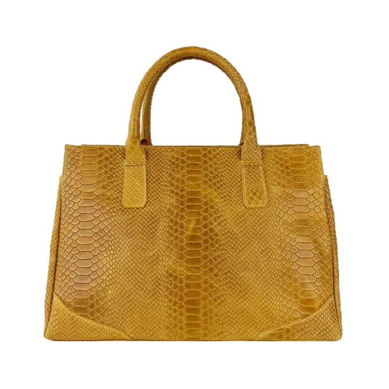 Python Printed Leather Bag -Made in Italy-
