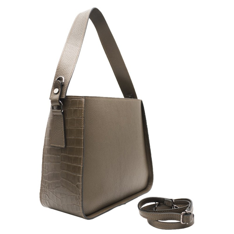 Bag with Crocodile Leather Insert -Made in Italy-