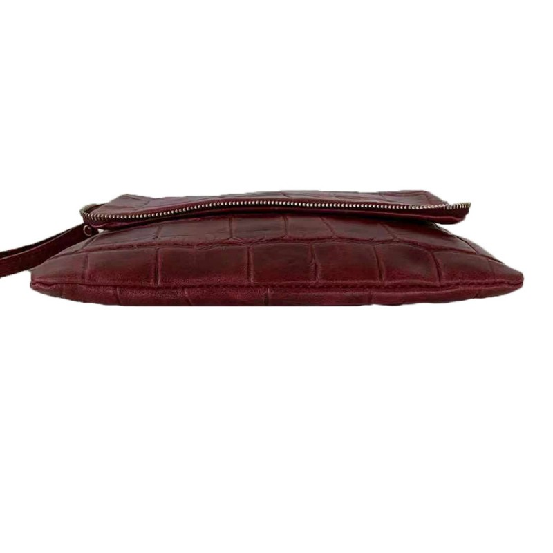 Clutch Bag in Crocodile Printed Leather -Made in Italy-