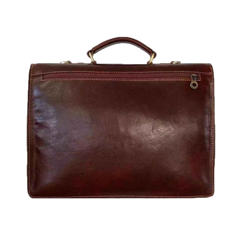 Vintage Buffered Leather Briefcase -Made in Italy-