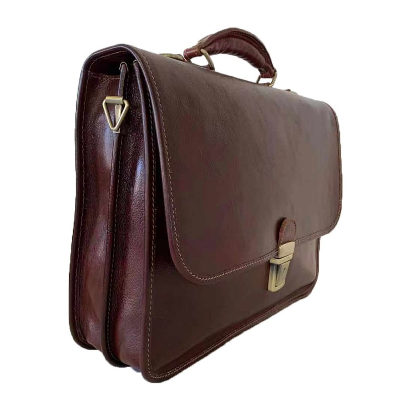 Buffered Vintage Leather Briefcase -Made in Italy-