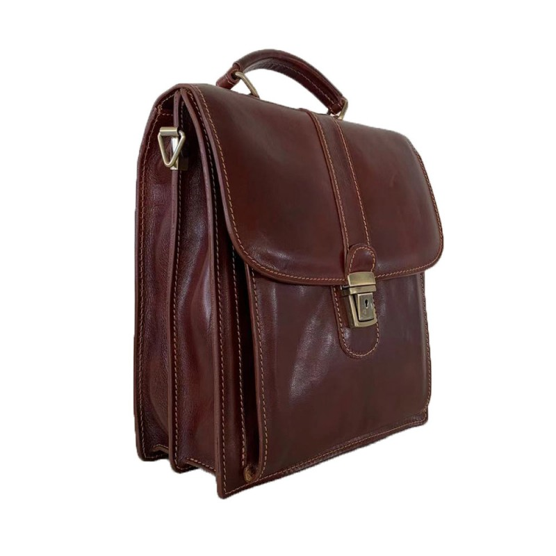 Buffered Leather Business Bag -Made in Italy-