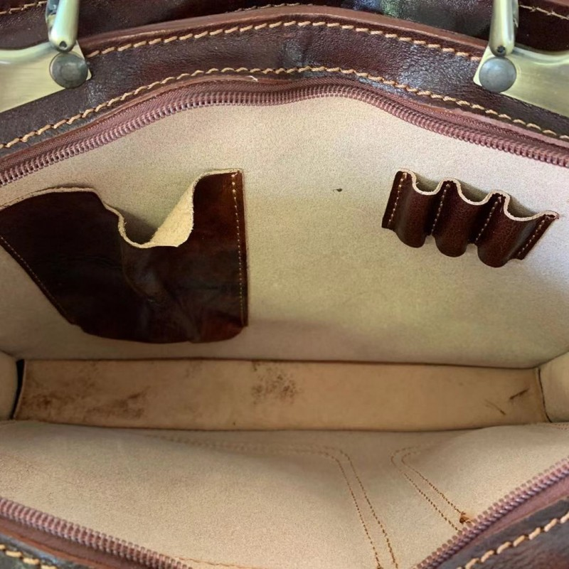 Buffered Leather Business Bag with Front Pockets -Made in Italy-