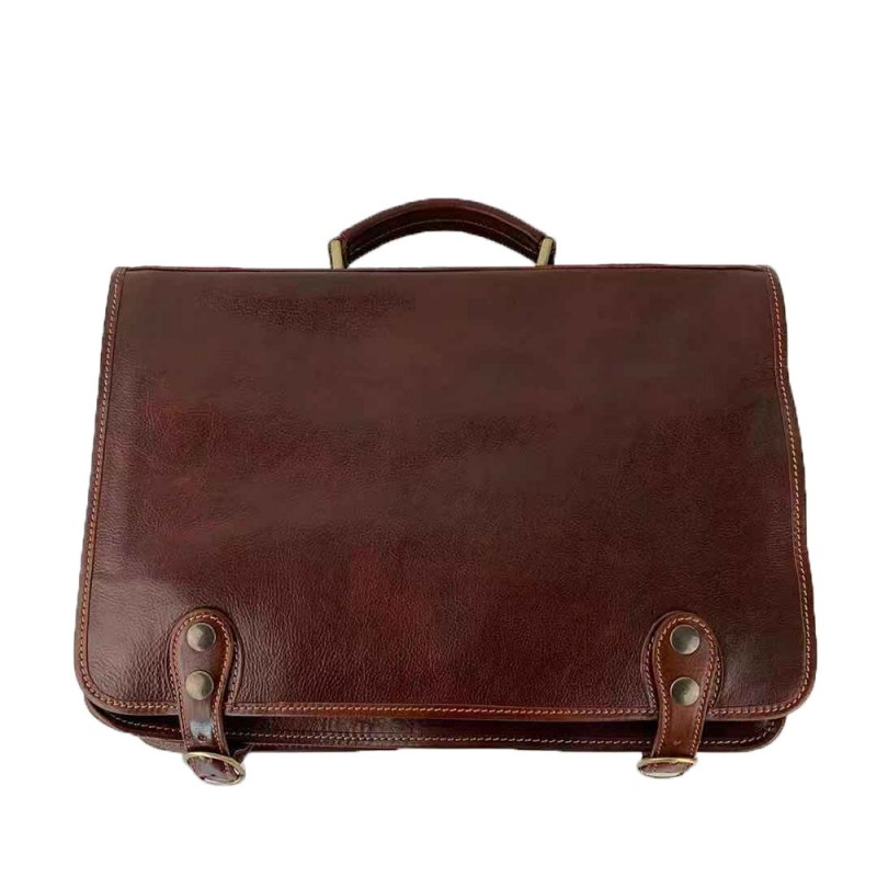 Buffered Leather Briefcase -Made in Italy-
