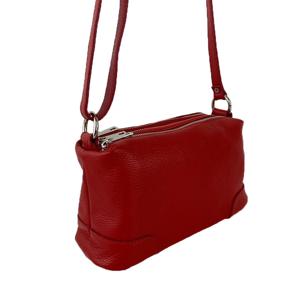 Leather Shoulder Bag with Three Compartments -Made in Italy-