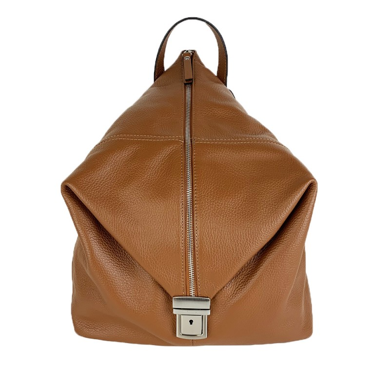 Leather Backpack with Vertical Zip -Made in Italy-