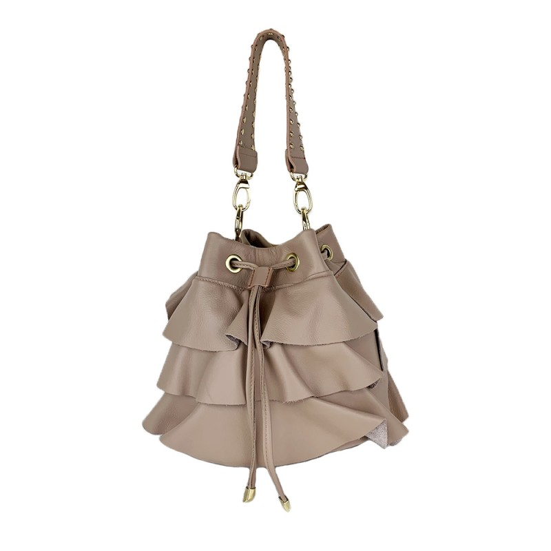 Leather Bag with Flounces -Made in Italy-