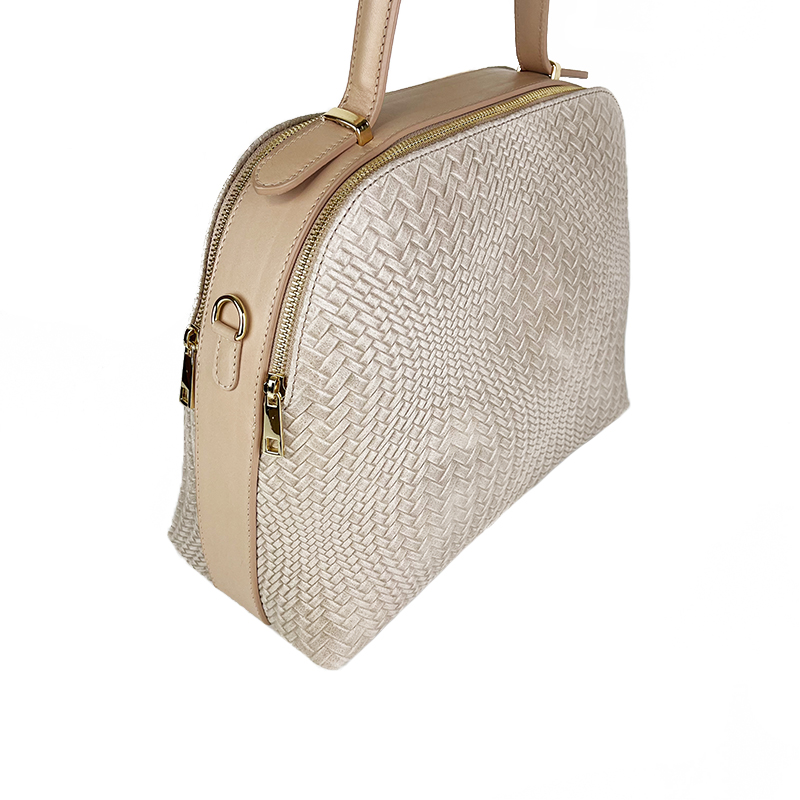 Mosaic Effect Leather Bag -Made in Italy-