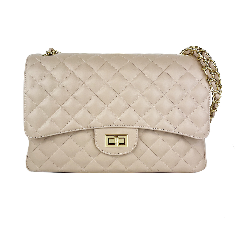 Large Quilted Leather Shoulder Bag -Made in Italy-