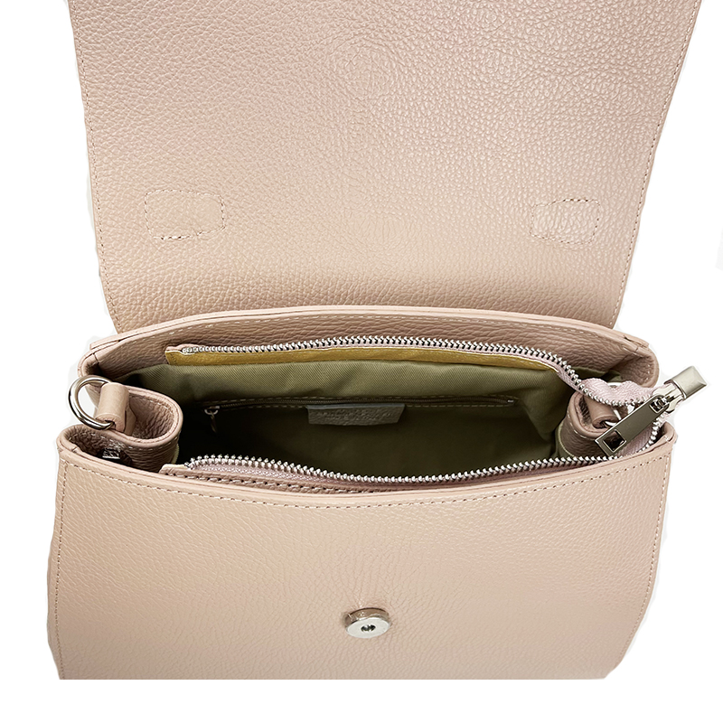 Leather Handbag with Flap -Made in Italy-