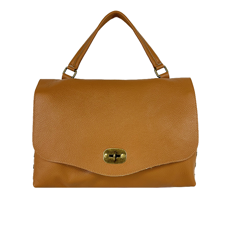 Leather Shoulder Bag with Flap -Made in Italy-