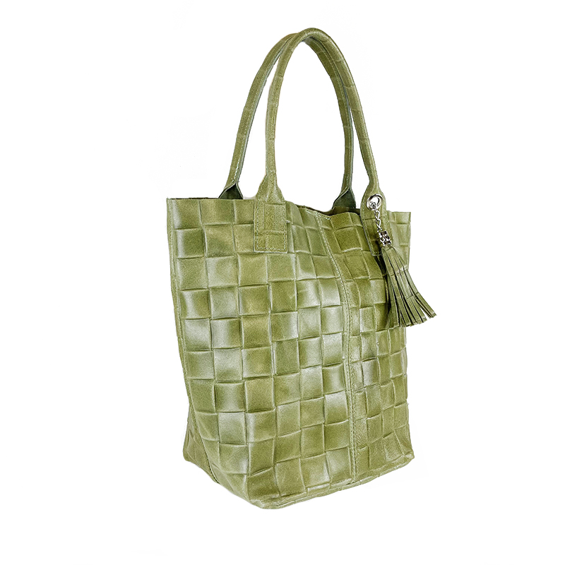 Shoulder Shopping Bag in Braided Printed Leather -Made in Italy-