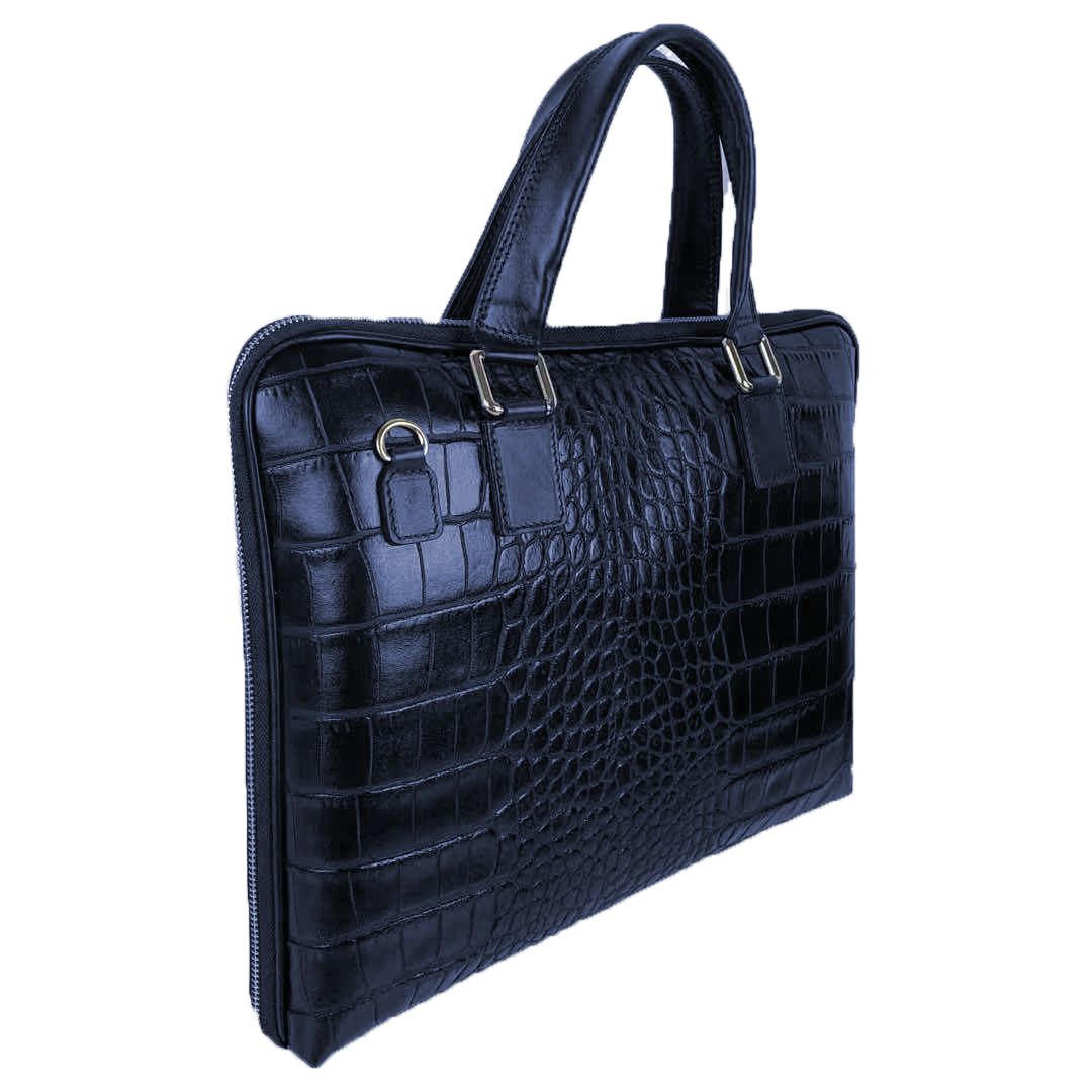 Borsa Porta Computer in Pelle Stampa Coccodrillo -Made in Italy- -Made in Italy-